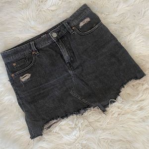 (2 for $20) Black distressed denim skirt.